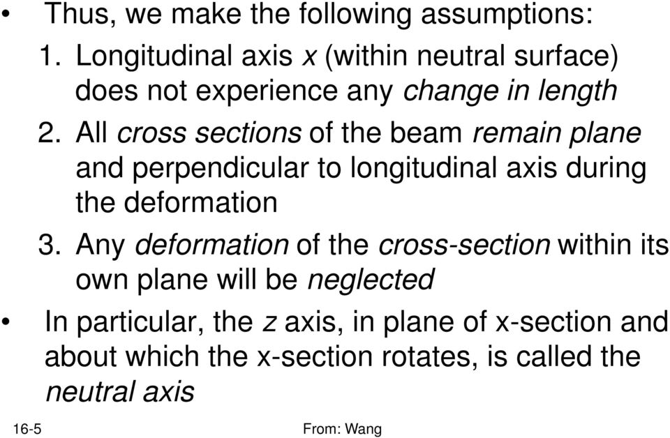 All cross sections of the beam remain plane and perpendicular to longitudinal axis during the deformation.