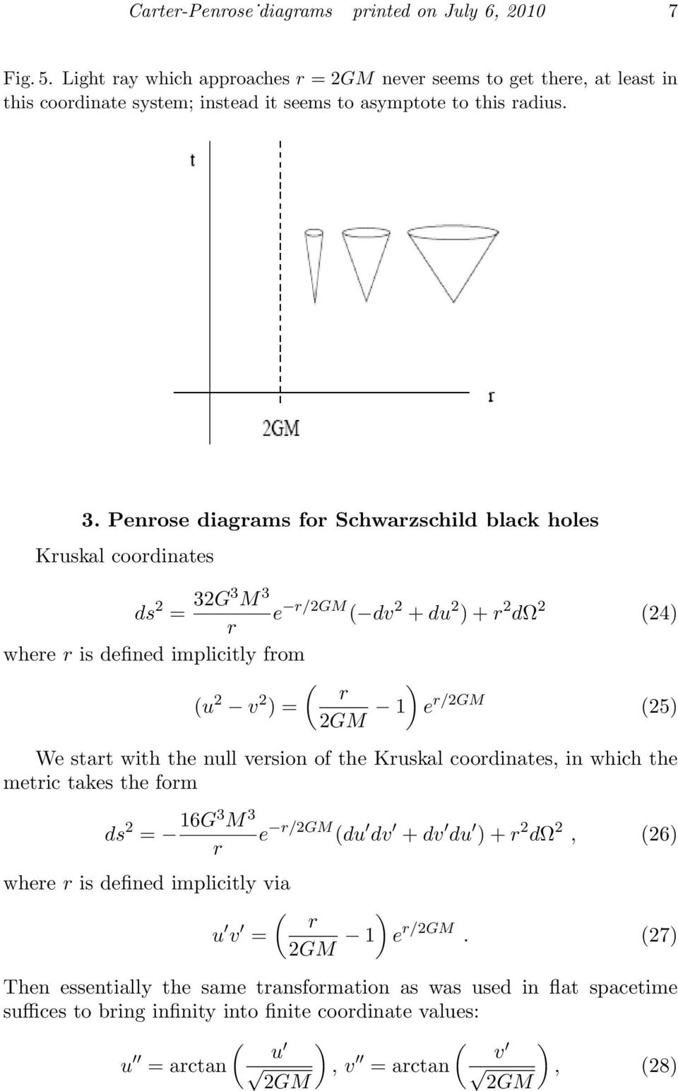Penose diagams fo Schwazschild black holes Kuskal coodinates ds 2 = 32G3 M 3 e /2GM dv 2 + du 2 ) + 2 dω 2 24) whee is defined implicitly fom ) u 2 v 2 ) = 2GM 1 e /2GM 25) We stat