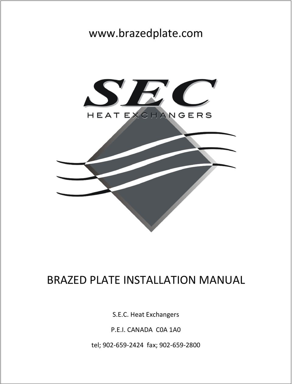 MANUAL S.E.C. Heat Exchangers P.E.I.