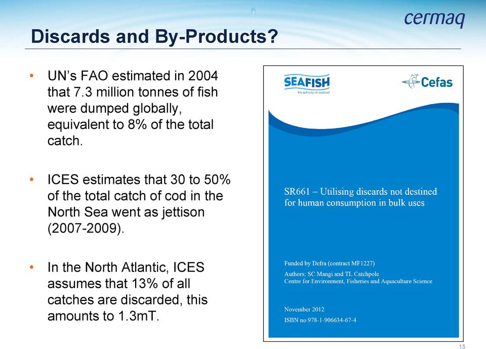 ICES estimates that 30 to 50% of the total catch of cod in the North Sea went as
