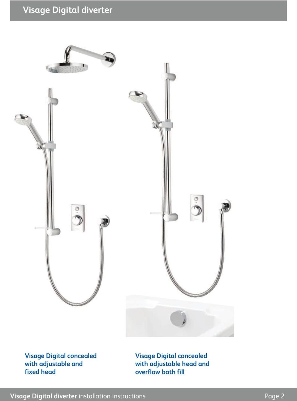 concealed with adjustable head and overflow bath