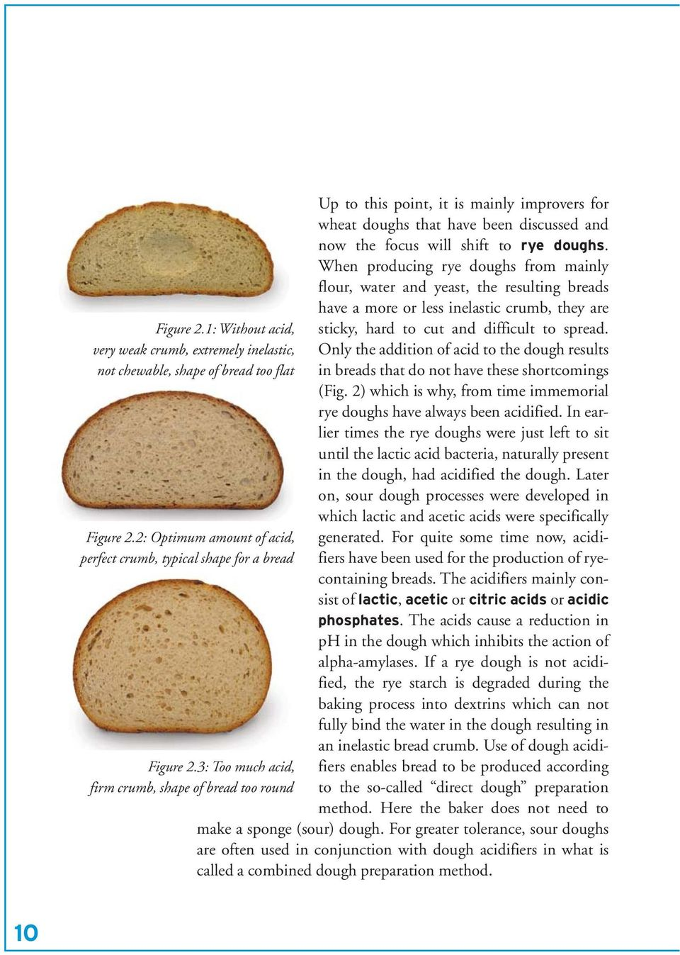 Only the addition of acid to the dough results in breads that do not have these shortcomings (Fig. 2) which is why, from time immemorial rye doughs have always been acidified.