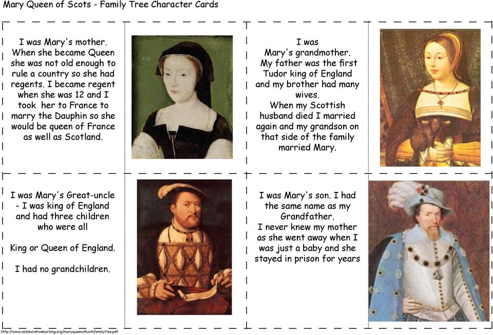 My father was the first Tudor king of England and my brother had many wives. When my Scottish husband died I married again and my grandson on that side of the family married Mary.