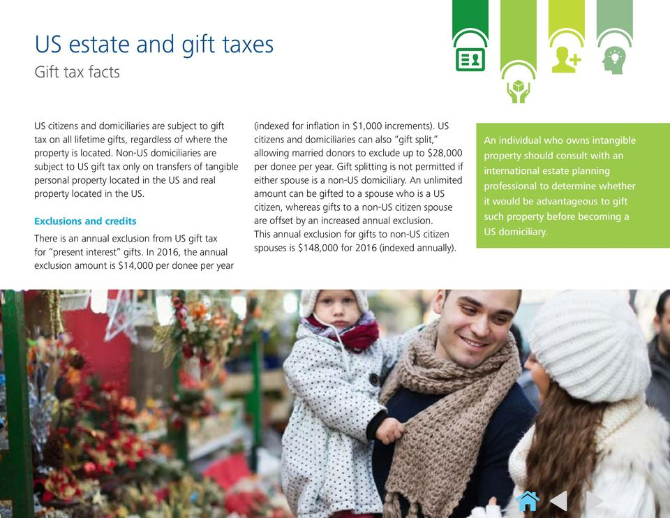 Exclusions and credits There is an annual exclusion from US gift tax for present interest gifts.