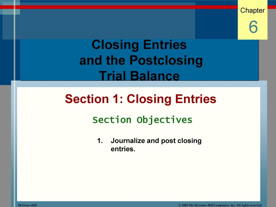 Chapter Closing Entries and the Postclosing Trial