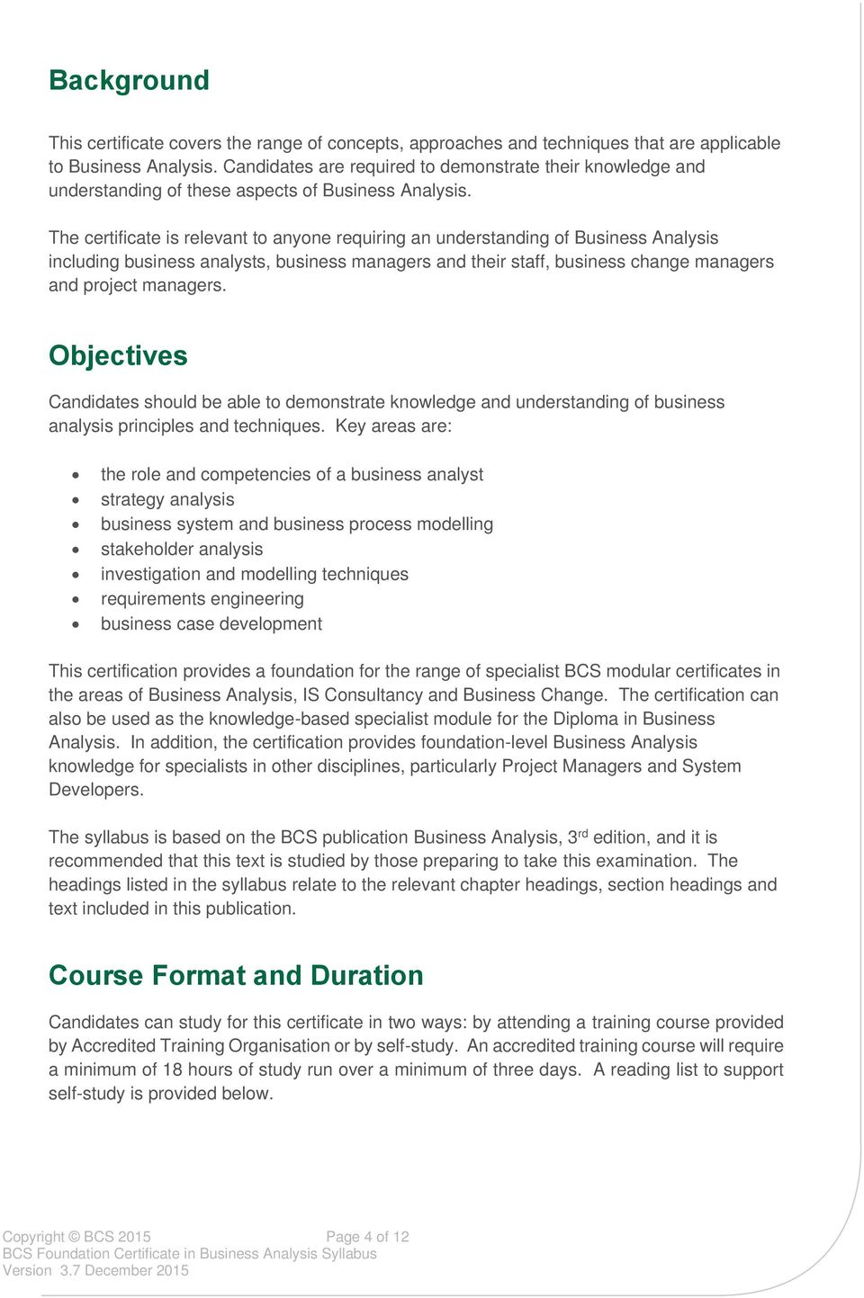 Bcs Foundation Certificate In Business Analysis Syllabus Version