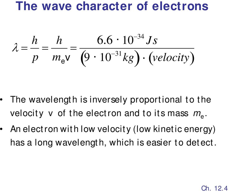 proportional to the velocity v of the electron and to its mass m e.