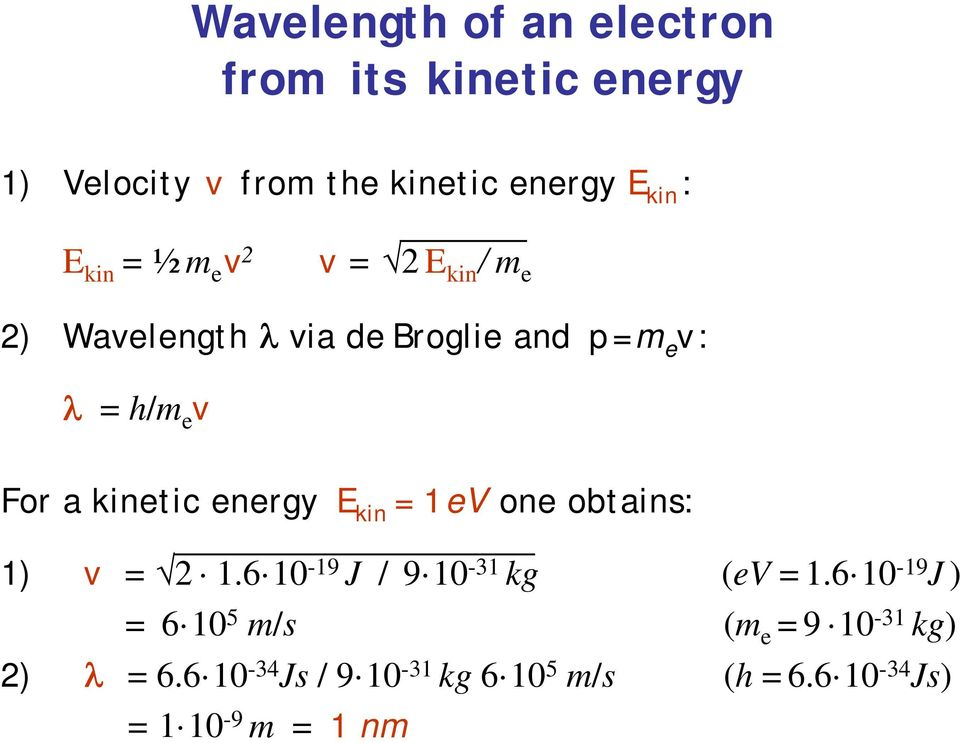 kinetic energy E kin = 1eV one obtains: 1) v = 2 1.6 10-19 J / 9 10-31 kg (ev = 1.