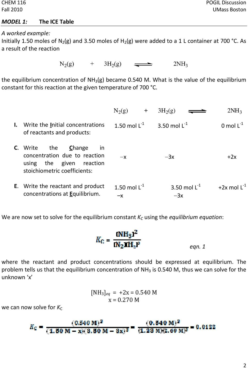 N 2 (g) + 3H 2 (g) 2NH 3 I. Write the Initial concentrations of reactants and products: C. Write the Change in concentration due to reaction using the given reaction stoichiometric coefficients: E.