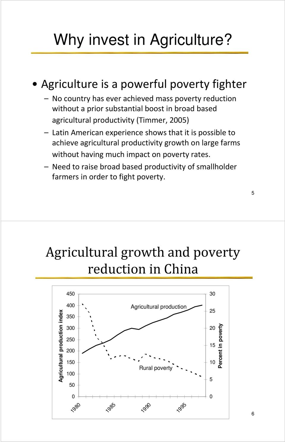 (Timmer, 2005) Latin American experience shows that it is possible to achieve agricultural productivity growth on large farms without having much impact on poverty