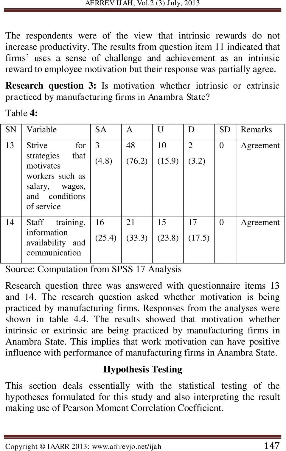Research question 3: Is motivation whether intrinsic or extrinsic practiced by manufacturing firms in Anambra State?