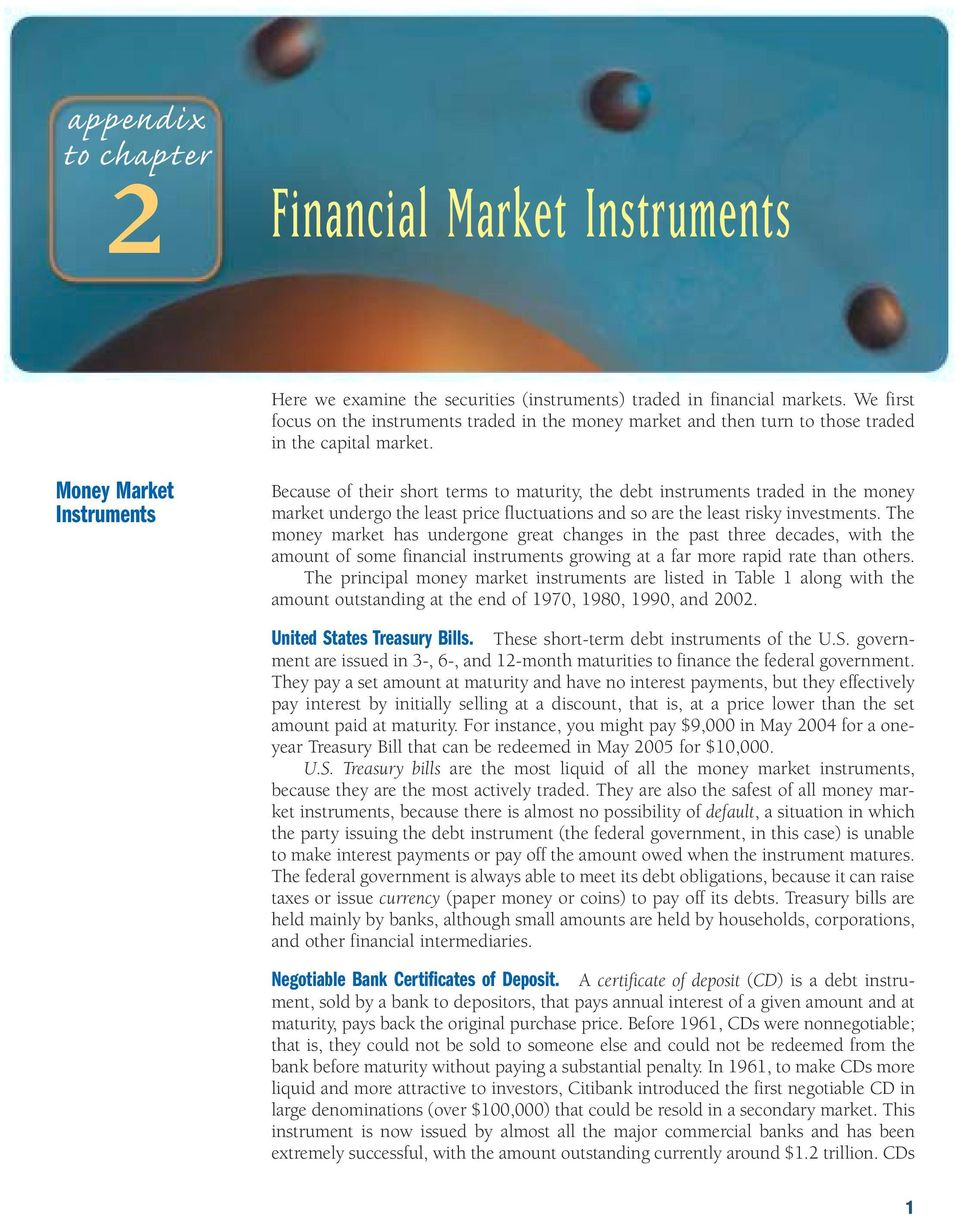 Money Market Instruments Because of their short terms to maturity, the debt instruments traded in the money market undergo the least price fluctuations and so are the least risky investments.