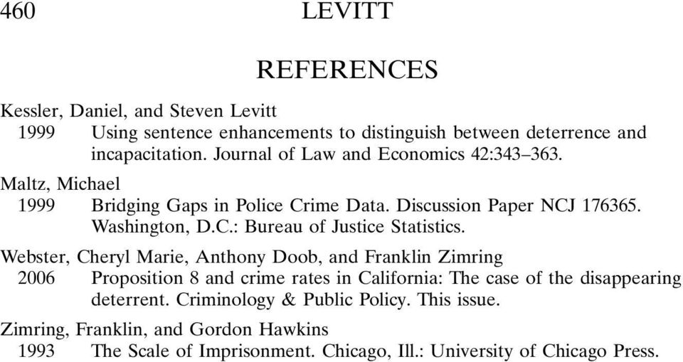 Webster, Cheryl Marie, Anthony Doob, and Franklin Zimring 2006 Proposition 8 and crime rates in California: The case of the disappearing deterrent.