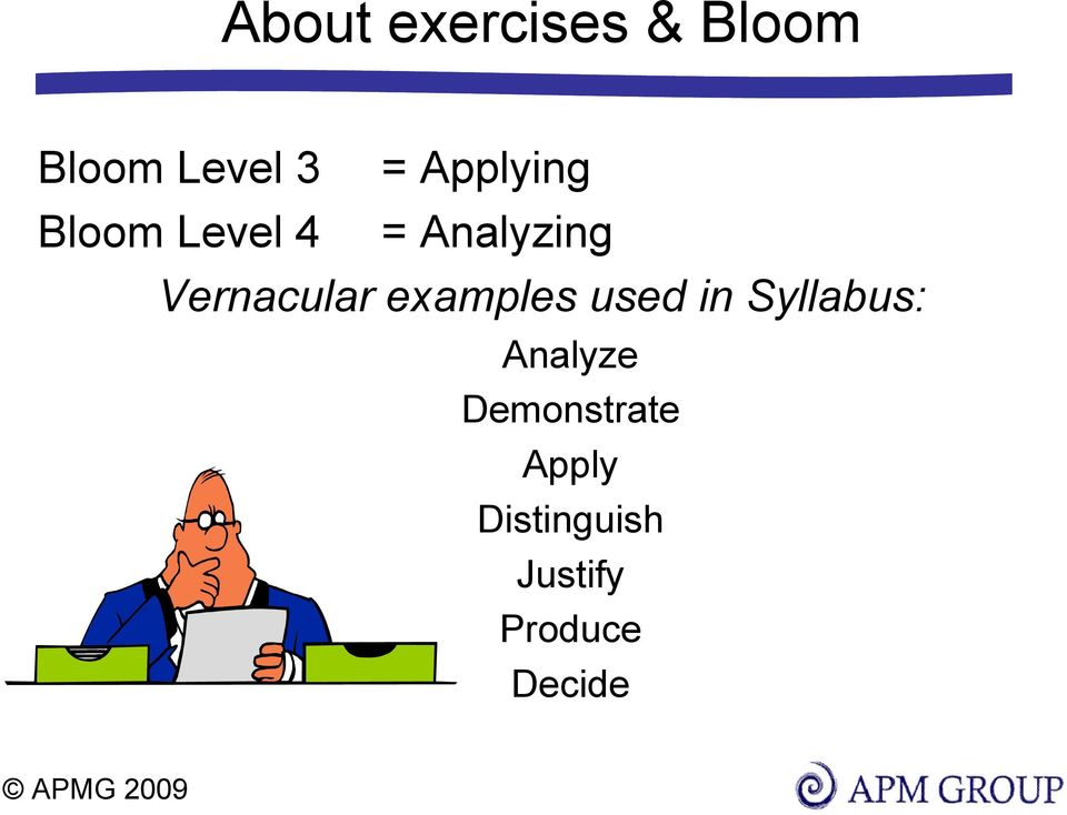 Vernacular examples used in Syllabus: