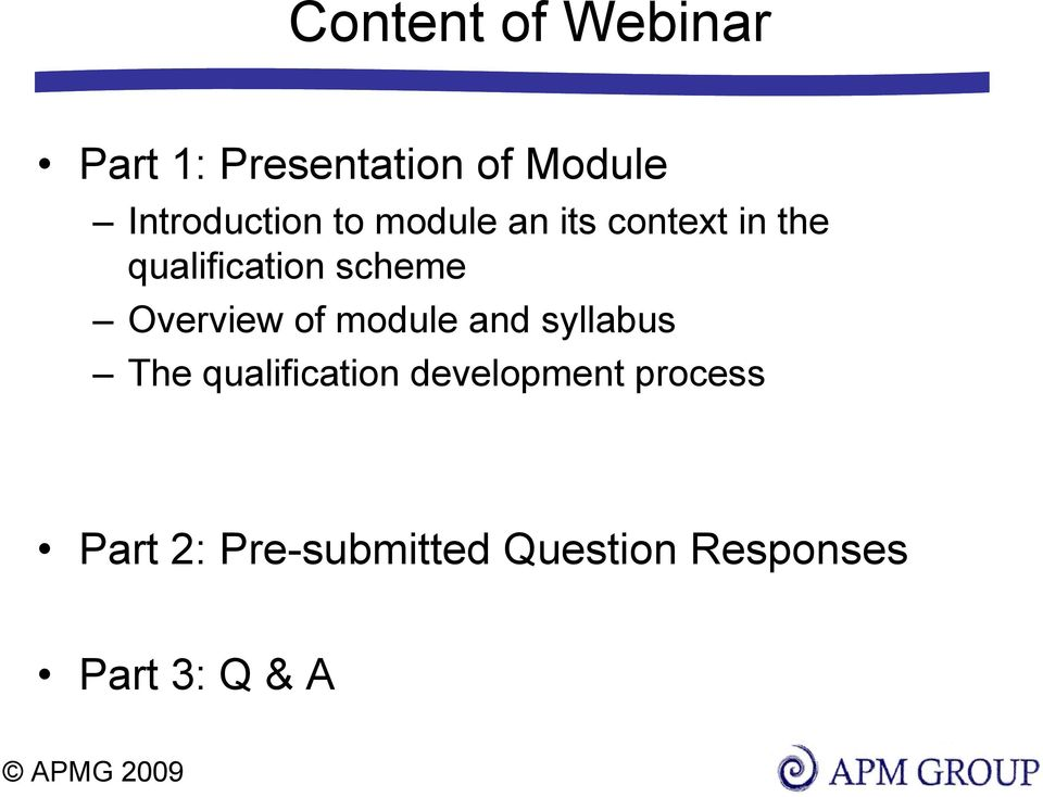 scheme Overview of module and syllabus The qualification