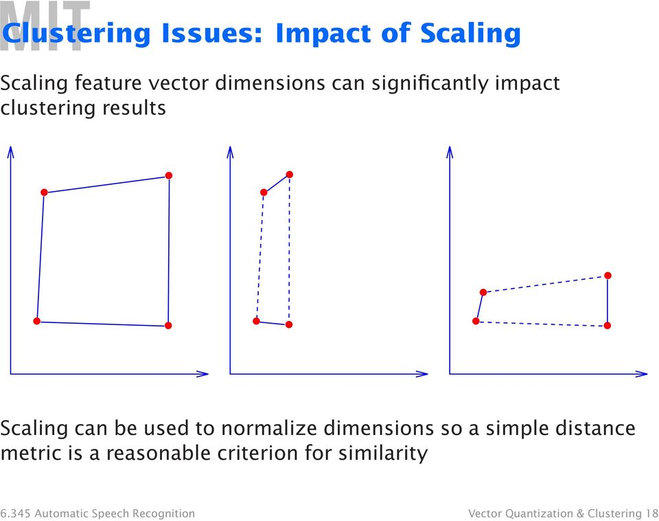 dimensions so a simple distance metric is a reasonable criterion for