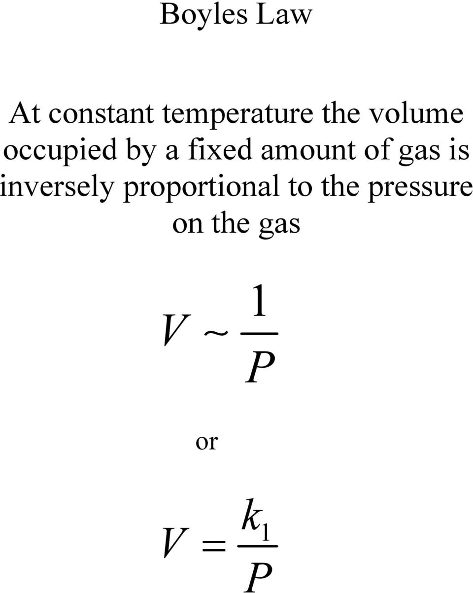 amount of gas is inversely