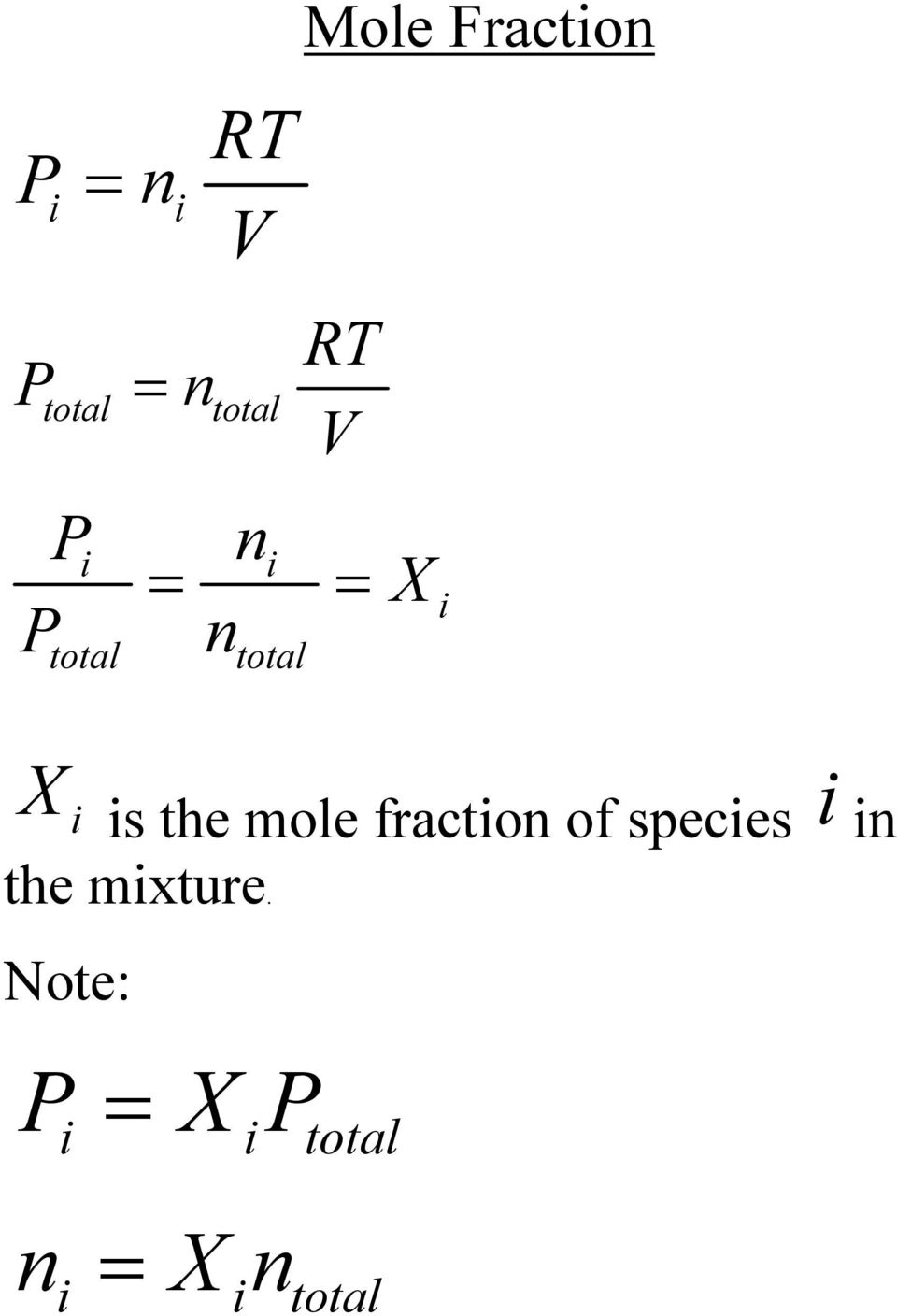 mole fraction of species i in the