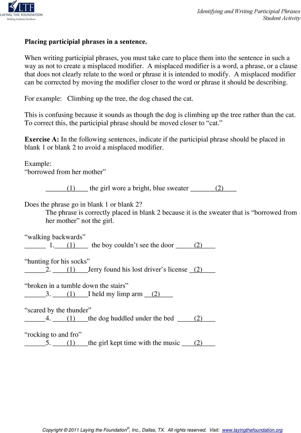 Identifying and Writing Participial Phrases One Skill at a Time – Misplaced Modifiers Worksheet