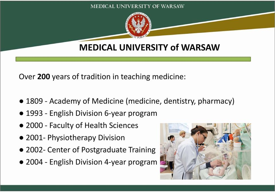 English Division 6 year program 2000 Faculty of Health Sciences 2001