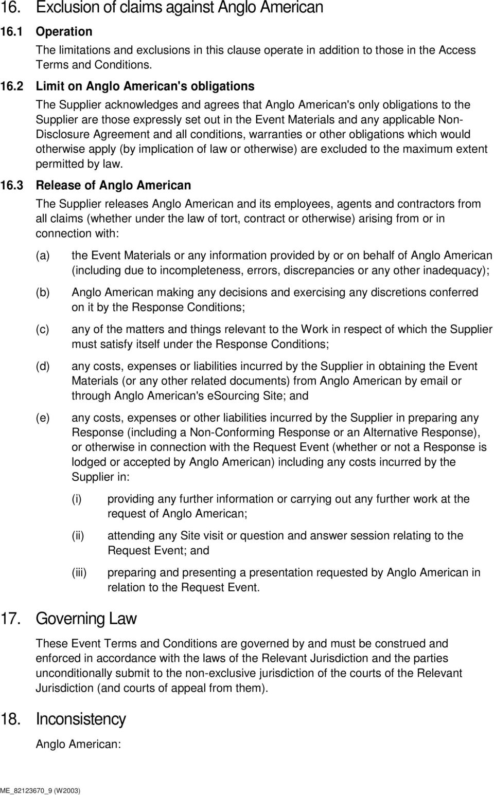 2 Limit on Anglo American's obligations The Supplier acknowledges and agrees that Anglo American's only obligations to the Supplier are those expressly set out in the Event Materials and any