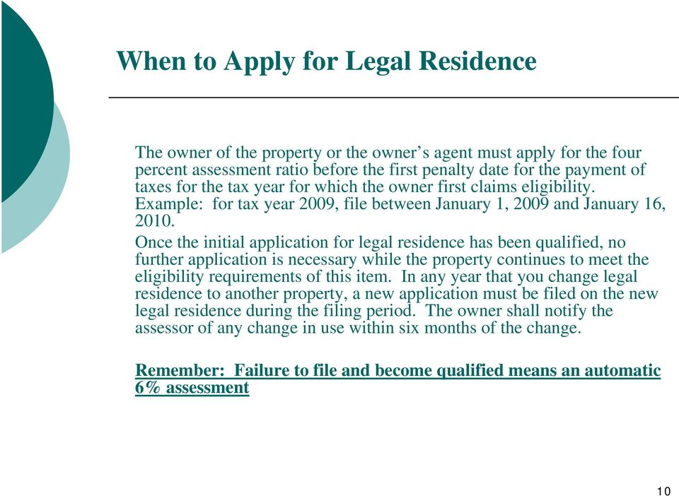 Once the initial application for legal residence has been qualified, no further application is necessary while the property continues to meet the eligibility requirements of this item.