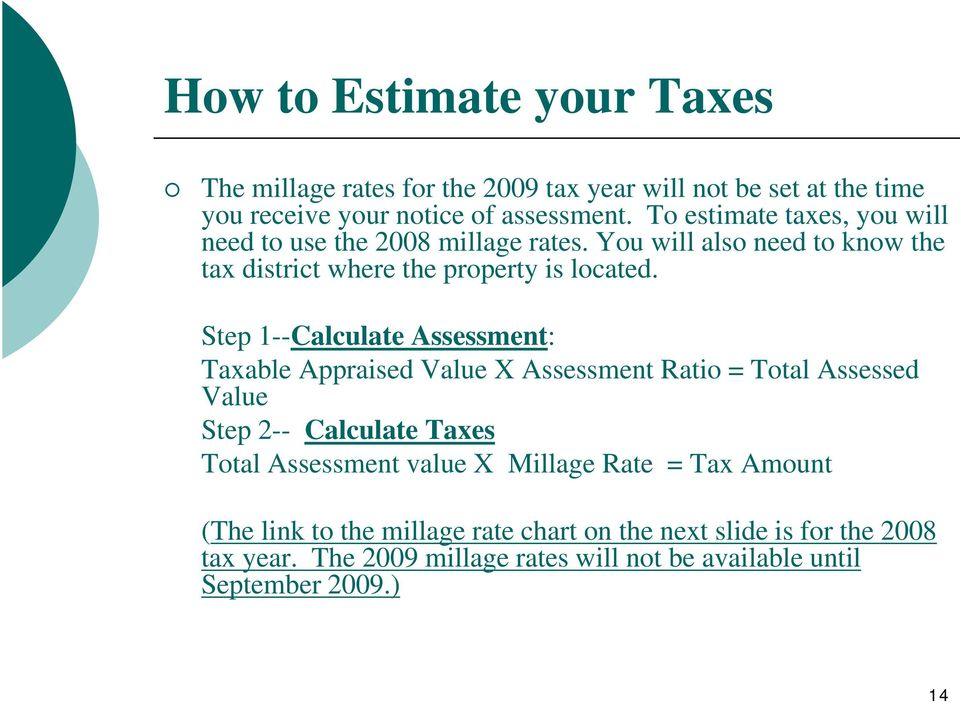 Step 1--Calculate Assessment: Taxable Appraised Value X Assessment Ratio = Total Assessed Value Step 2-- Calculate Taxes Total Assessment value X