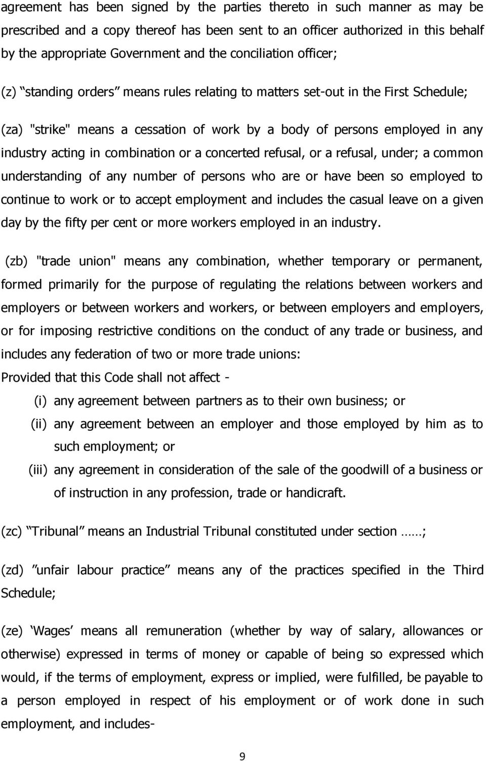 Labour Code On Industrial Relations Bill Arrangement Of The
