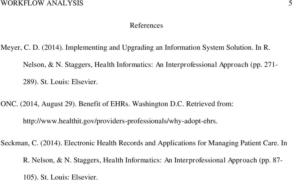 Washington D.C. Retrieved from: http://www.healthit.gov/providers-professionals/why-adopt-ehrs. Seckman, C. (2014).