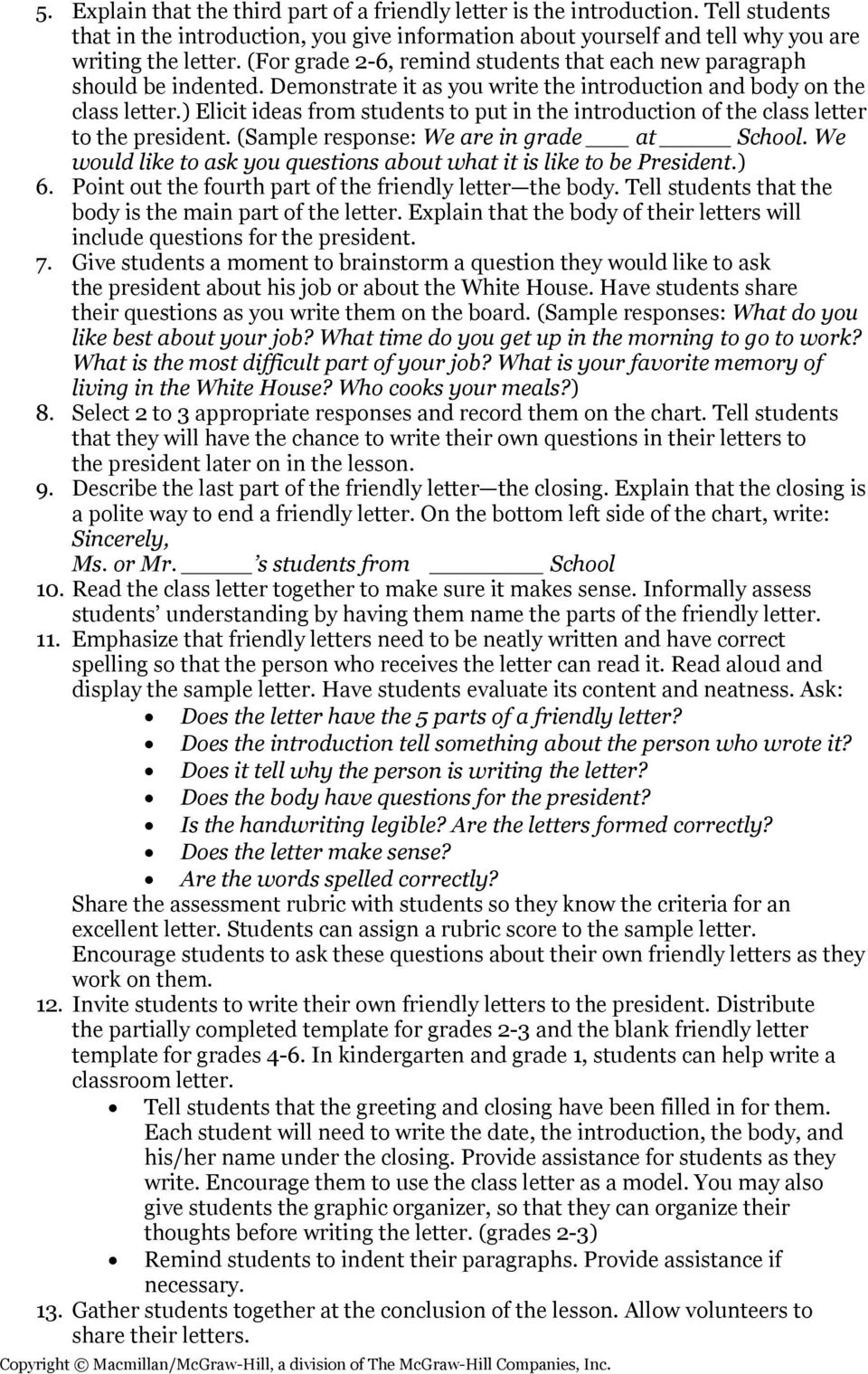 ) Elicit ideas from students to put in the introduction of the class letter to the president. (Sample response: We are in grade at School.