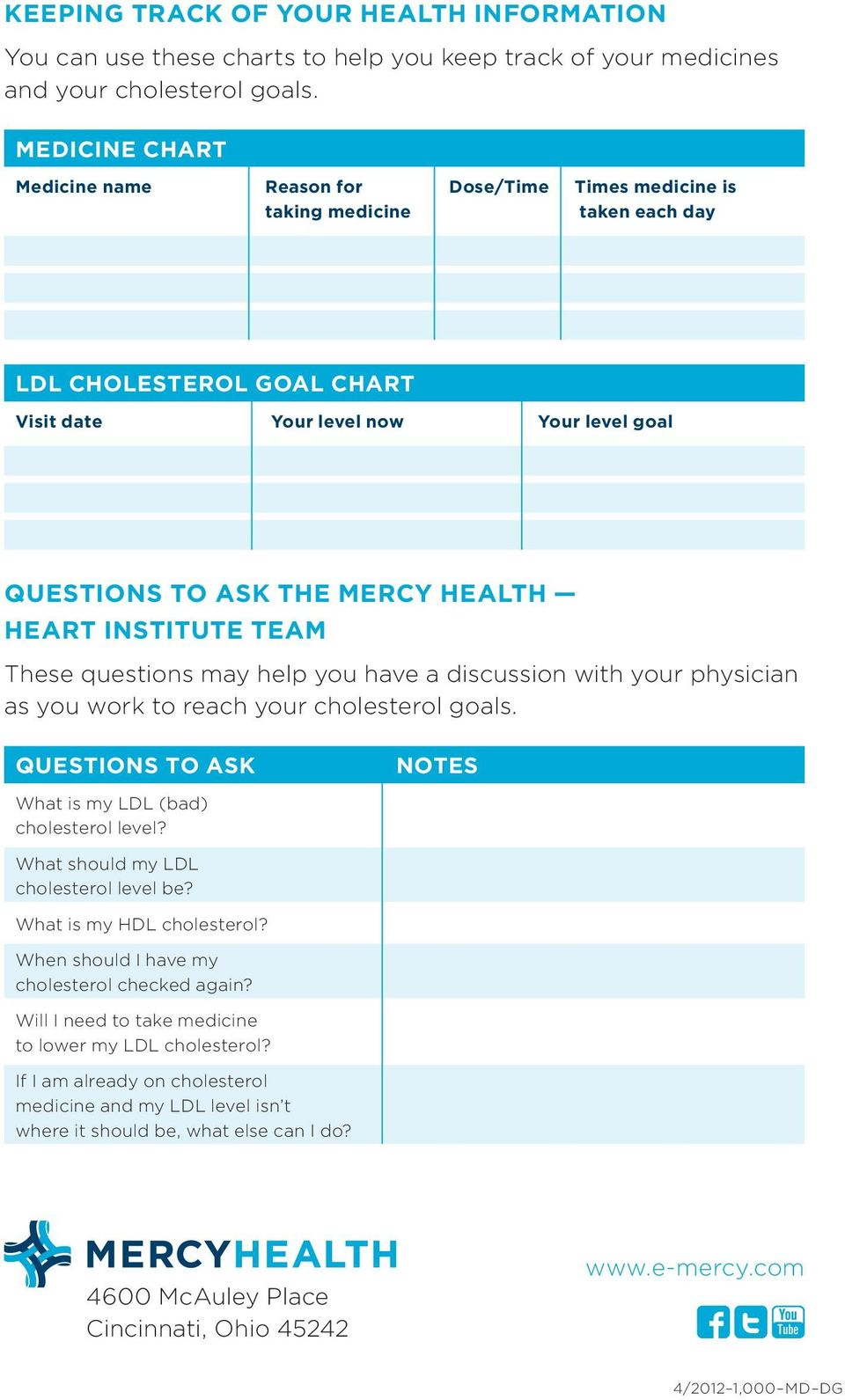 HEALTH HEART INSTITUTE TEAM These questions may help you have a discussion with your physician as you work to reach your cholesterol goals.