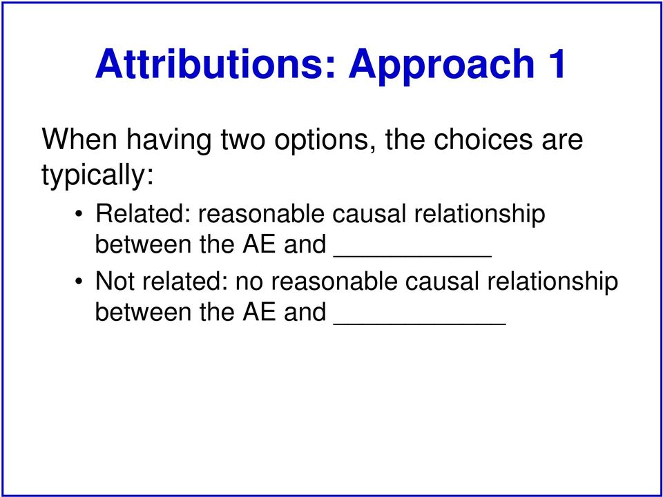 causal relationship between the AE and Not