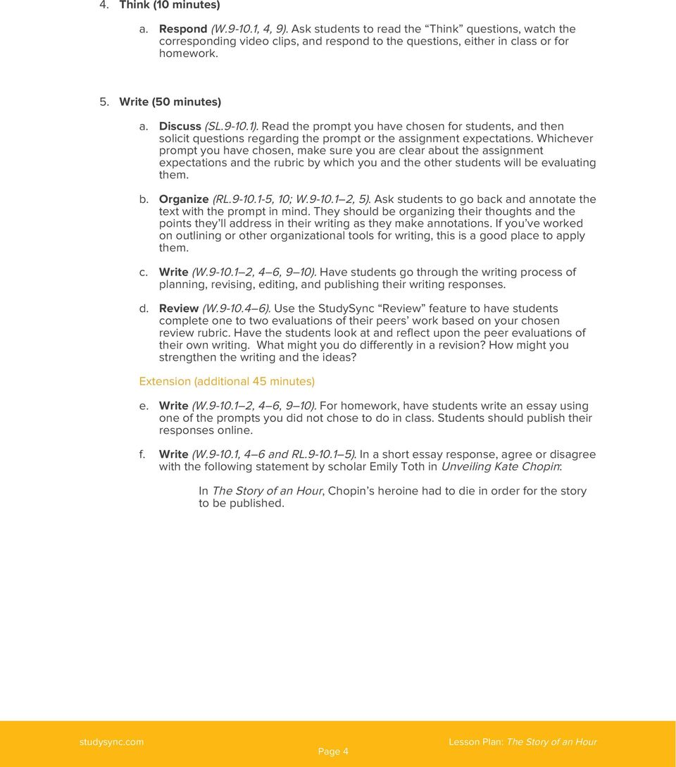lesson plan the story of an hour pdf whichever prompt you have chosen make sure you are clear about the assignment expectations and