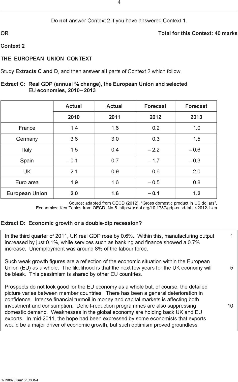 Extract C: Real GDP (annual % change), the European Union and selected EU economies, 2010 2013 Actual Actual Forecast Forecast 2010 2011 2012 2013 France 1.4 1.6 0.2 1.0 Germany 3.6 3.0 0.3 1.