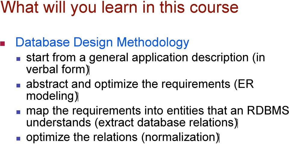 requirements (ER ( modeling map the requirements into entities that an RDBMS