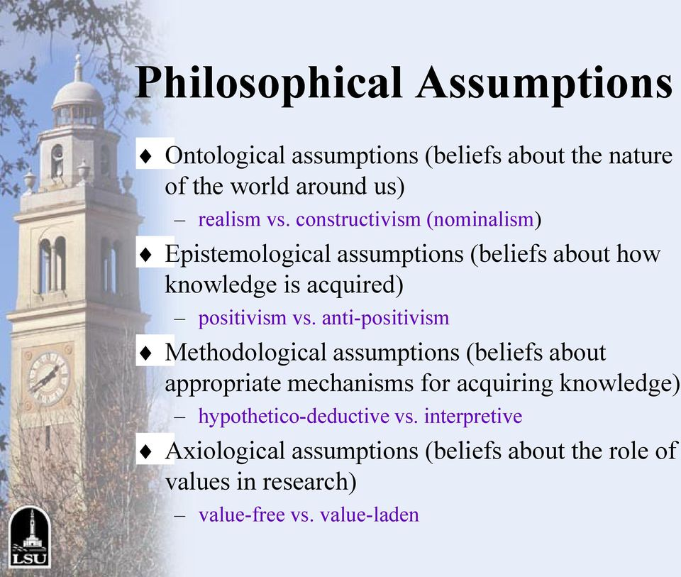 anti-positivism Methodological assumptions (beliefs about appropriate mechanisms for acquiring knowledge)