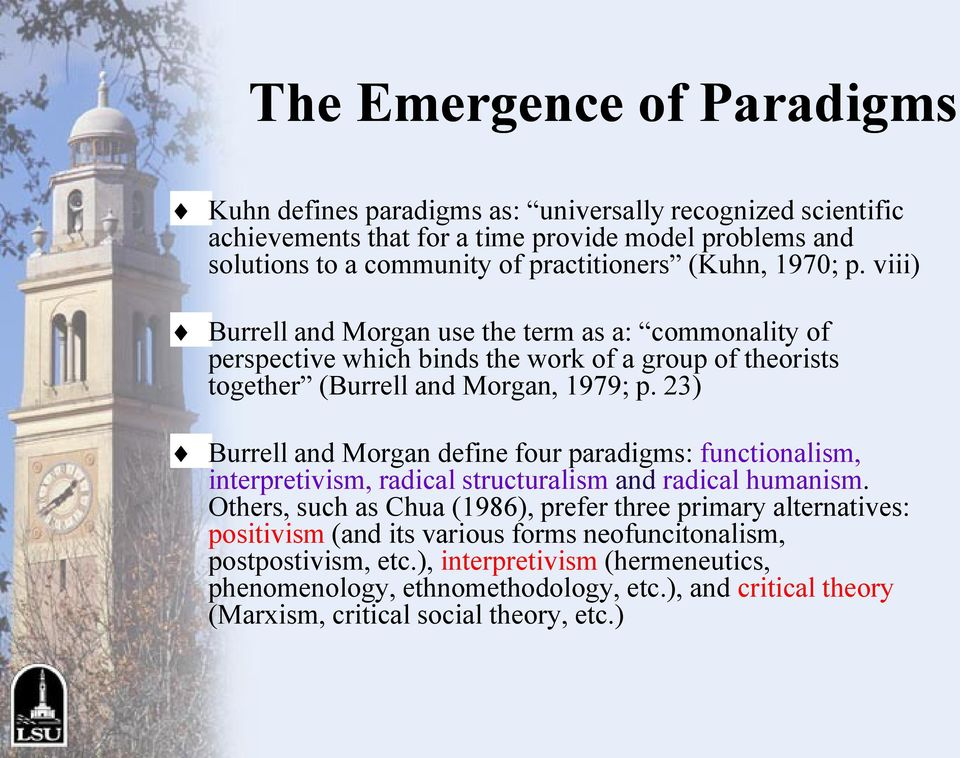 23) Burrell and Morgan define four paradigms: functionalism, interpretivism, radical structuralism and radical humanism.
