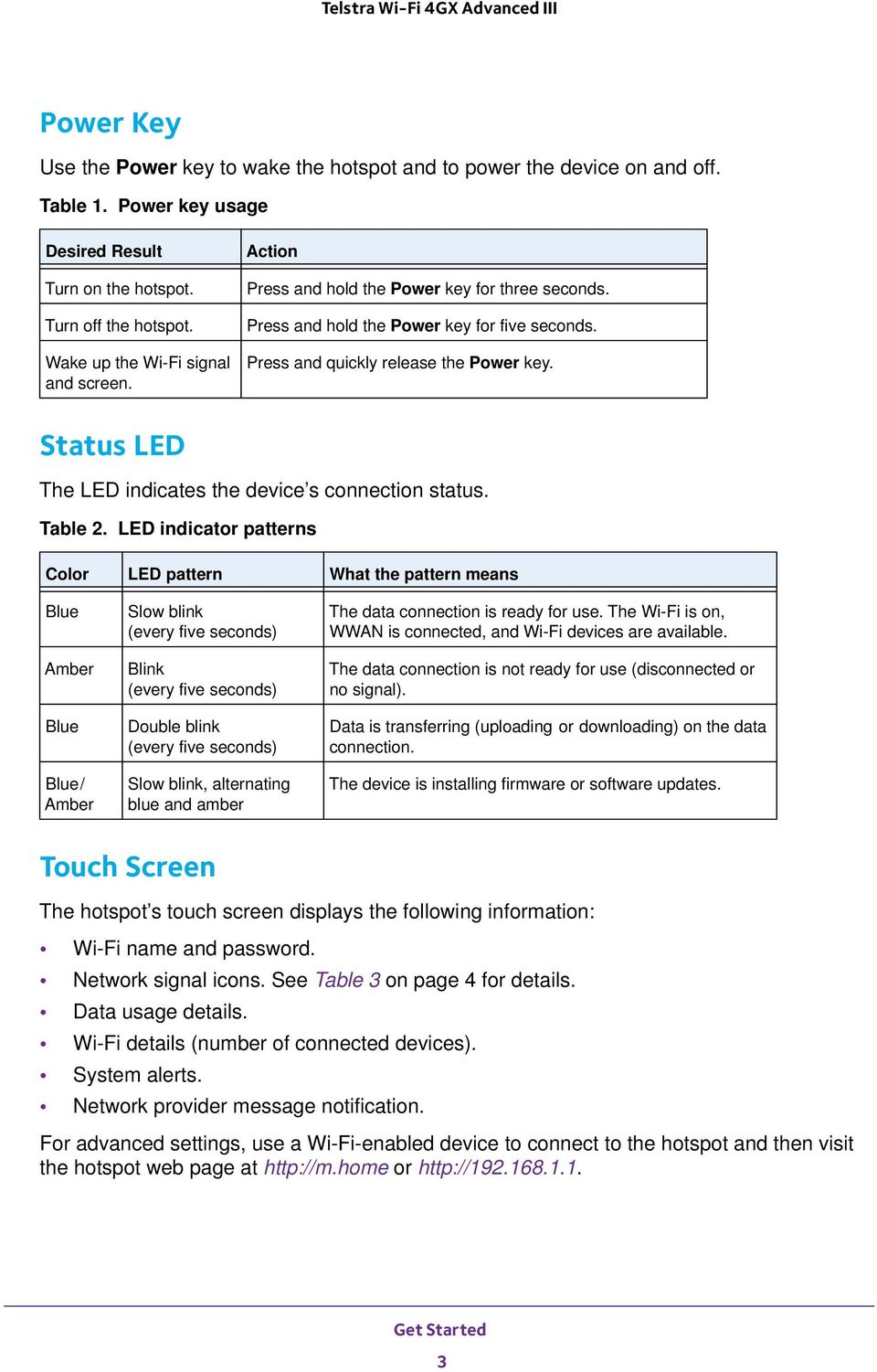 Status LED The LED indicates the device s connection status. Table 2.