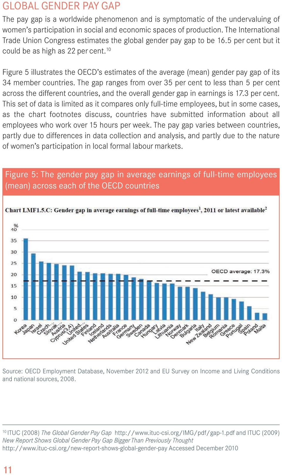 10 Figure 5 illustrates the OECD s estimates of the average (mean) gender pay gap of its 34 member countries.