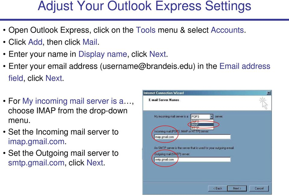 Configure Outlook Express for Brandeis Gmail - PDF