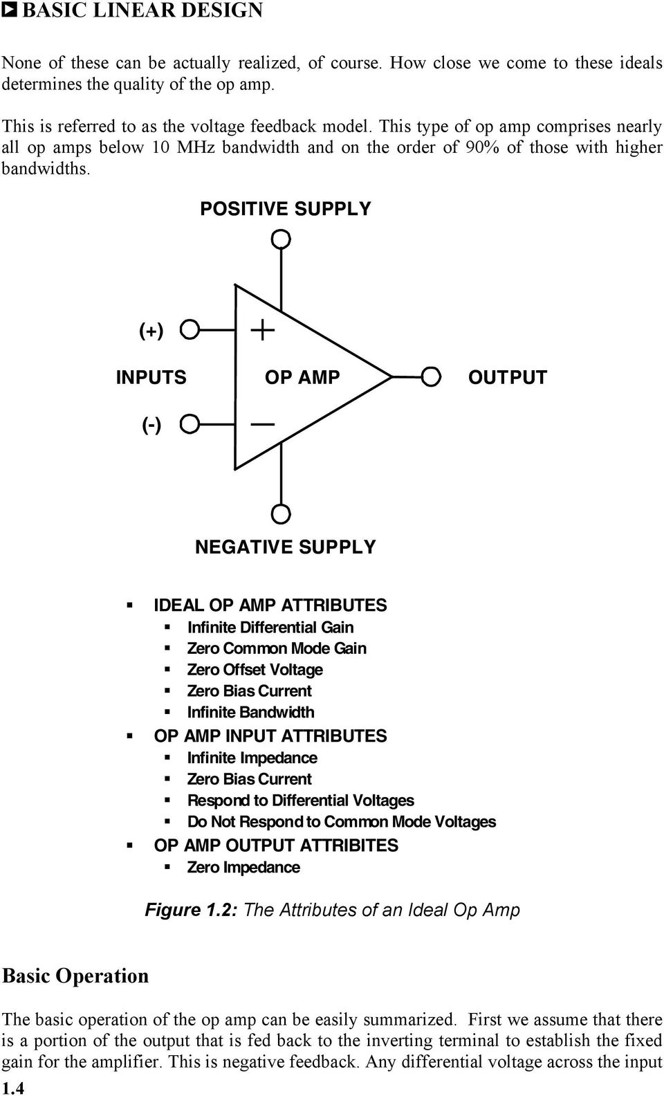 POSITIVE SUPPLY (+) INPUTS (-) OP AMP OUTPUT NEGATIVE SUPPLY IDEAL OP AMP ATTRIBUTES Infinite Differential Gain Zero Common Mode Gain Zero Offset Voltage Zero Bias Current Infinite Bandwidth OP AMP