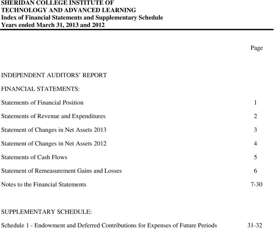 Changes in Net Assets 2012 4 Statements of Cash Flows 5 Statement of Remeasurement Gains and Losses 6 Notes to the