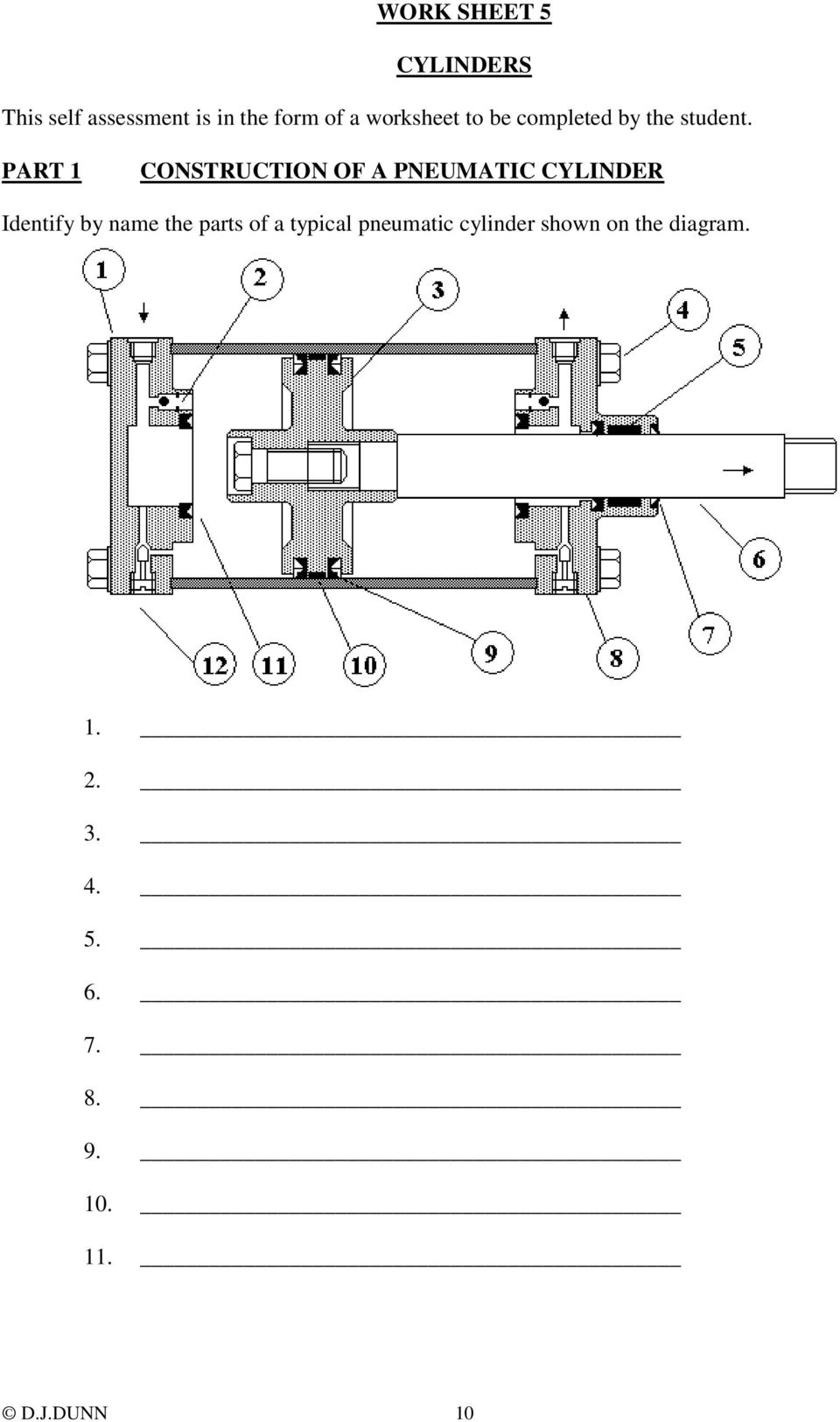 PART 1 CONSTRUCTION OF A PNEUMATIC CYLINDER Identify by name the