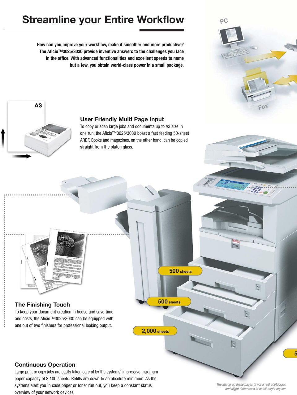 Fax User Friendly Multi Page Input To copy or scan large jobs and documents up to A3 size in one run, the Aficio 3025/3030 boast a fast feeding 50-sheet ARDF.
