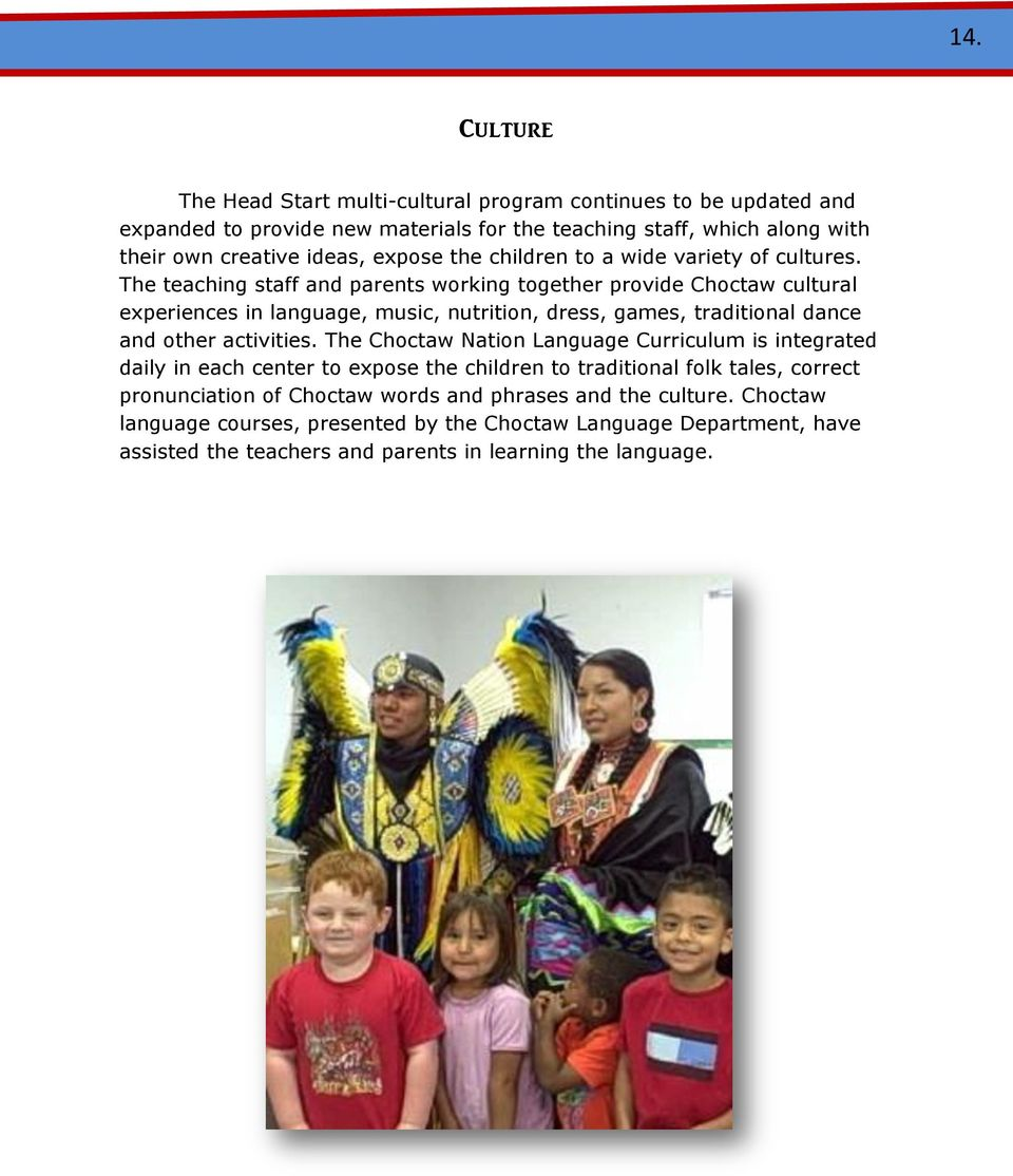 The teaching staff and parents working together provide Choctaw cultural experiences in language, music, nutrition, dress, games, traditional dance and other activities.