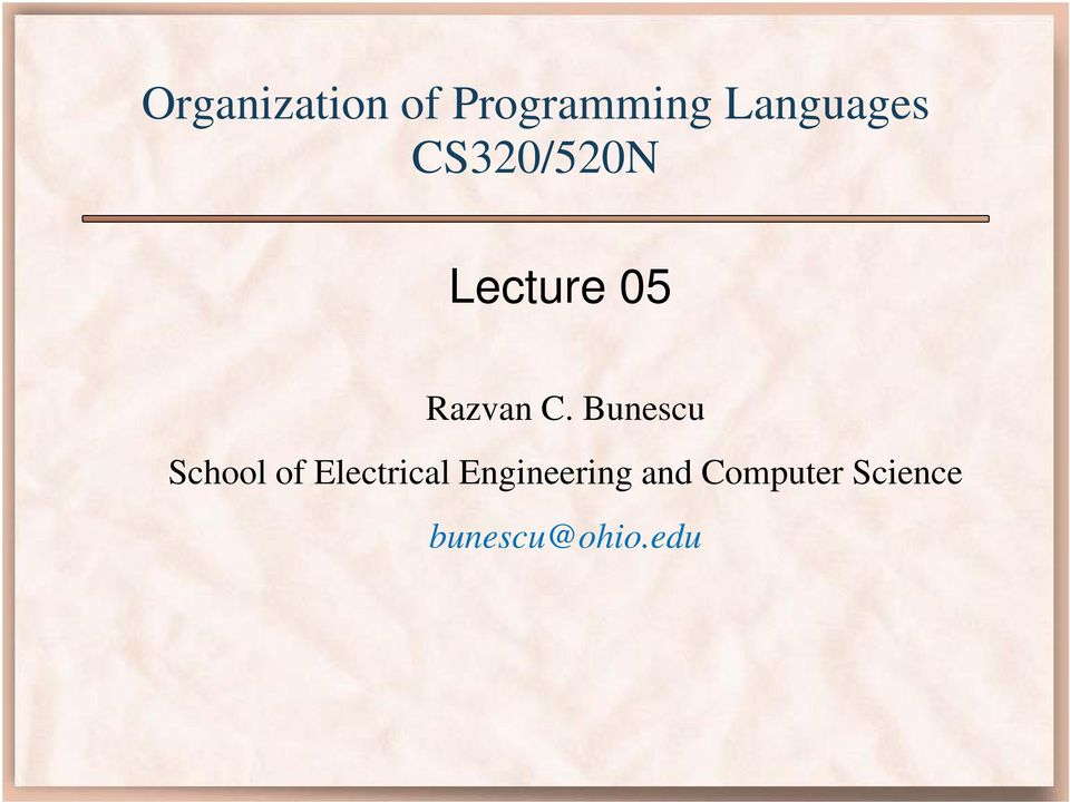 Bunescu School of Electrical