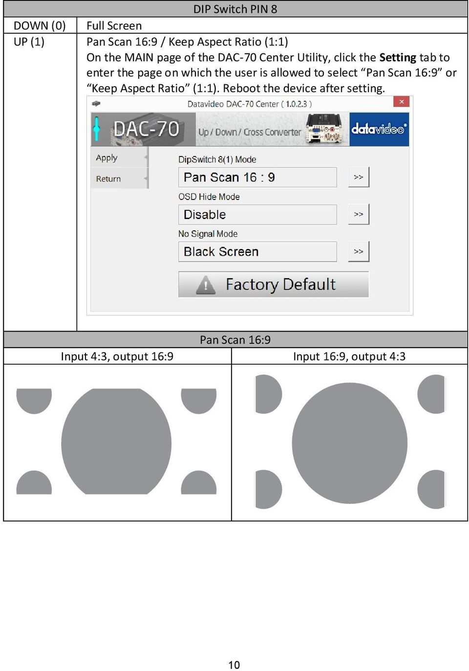 on which the user is allowed to select Pan Scan 16:9 or Keep Aspect Ratio (1:1).