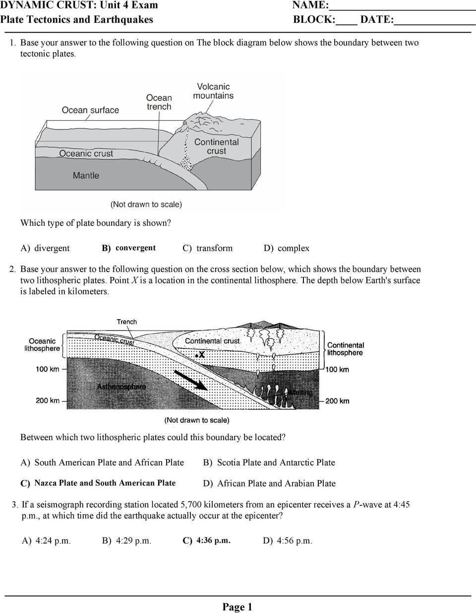 Base your answer to the following question on the cross section below, which shows the boundary between two lithospheric plates. Point X is a location in the continental lithosphere.