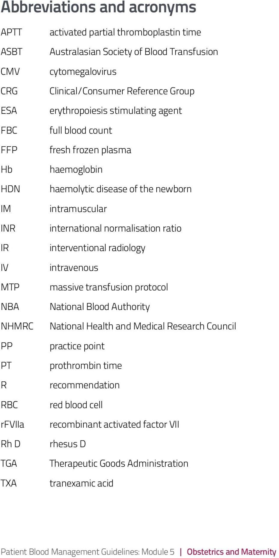 international normalisation ratio interventional radiology intravenous massive transfusion protocol National Blood Authority National Health and Medical Research Council practice point