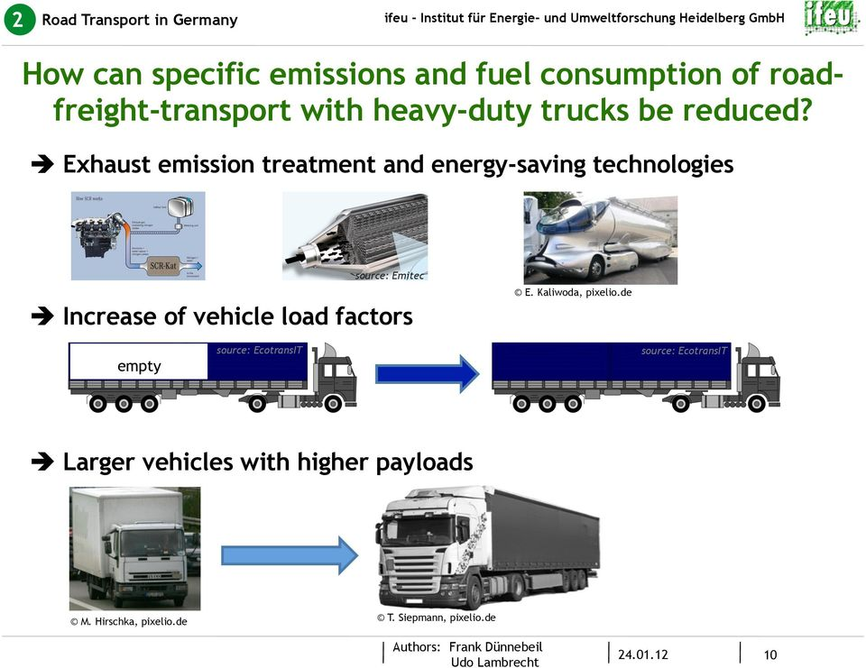 Exhaust emission treatment and energy-saving technologies source: Emitec Increase of vehicle load